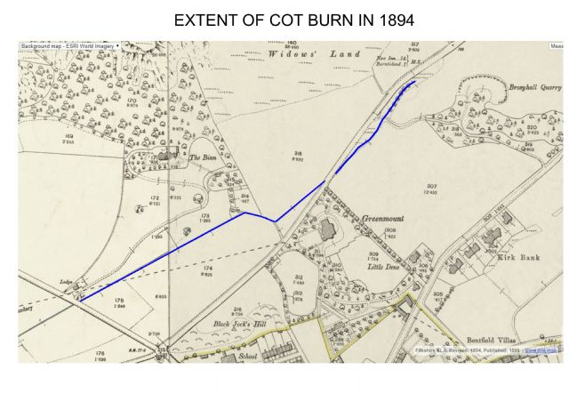 This shows the original extent of the Cot Burn from near the current golf course clubhouse to where it runs under the Cowdenbeath Road to become the Kirkton Burn after it is joined by other culverted burns from the west side of the Binn. The Kirkton Burn is now diverted into the SUDS by the 'Alcan estate' and reaches the sea from the old Seamill Pond by a pipe to the west breakwater between Ross Point and Colinswell.
